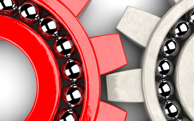 Two gear bearings illustrating team work as concept