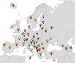 Pinned countries flags on map of Europe