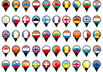 Flags of European countries like pins