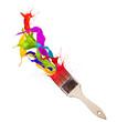 Colored paint splashes splashing from paintbrush