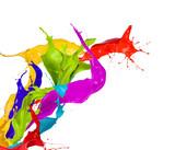 Colored paint splashes isolated on white background - 47121532
