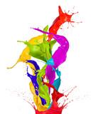 Colored paint splashes isolated on white background - 47121542