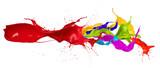 Fototapety  Colored paint splashes isolated on white background