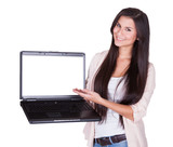 Woman holding a blank laptop