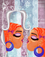 mirror image of a girl