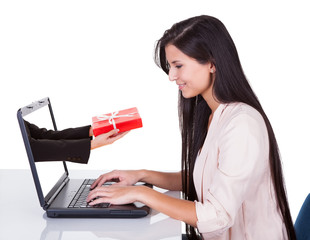Woman doing online shopping or banking