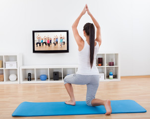 Athletic woman doing exercises at home