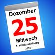 Leinwandbild Motiv Kalender auf blau - 25.12.2013 - 1. Weihnachtstag