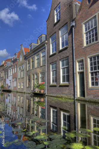 Houses on a canal in Delft