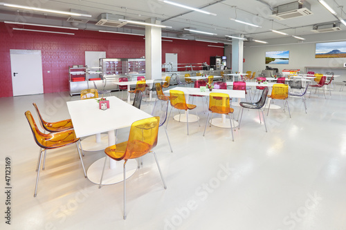 Leinwandbild Motiv The interior of the factory canteen, nobody