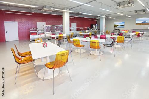Leinwanddruck Bild The interior of the factory canteen, nobody