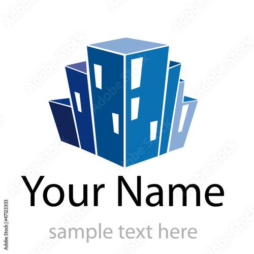 Logo property developer, house and city # Vector