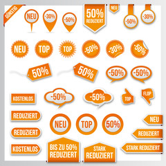 Vector orange price tags, labels, stickers, arrows and ribbons