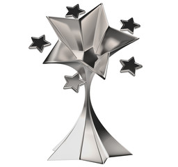 set of seven shiny silver stars in motion