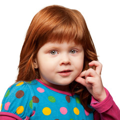 Pretty red-haired little girl face close-up. Isolated on white
