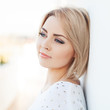 beautiful young and healthy women blonde with expressive eyes