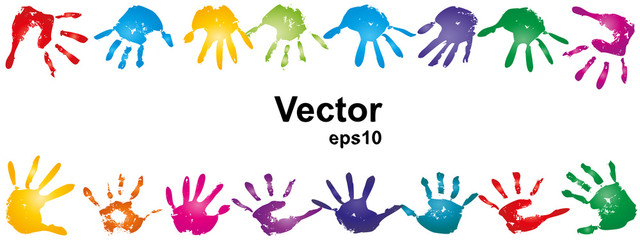 Vector conceptual human hand paint print frame