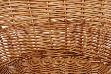 close up of the wicker basket texture