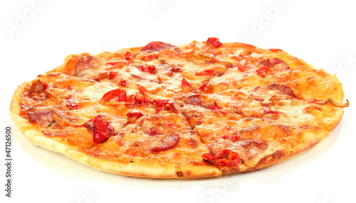 Tasty pepperoni pizza isolated on white