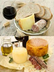 Collage pecorino sardo, sardinian cheese
