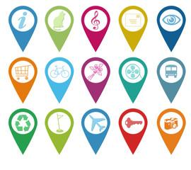 Set de iconos para marcadores en mapas