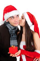 Isolated Christmas Couple