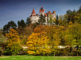 Bran Castle in autumn landscape