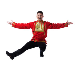 Man in russian costume performing dance