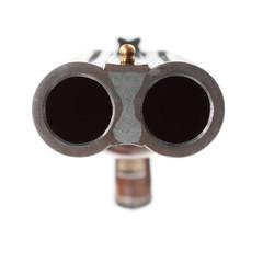 Big gun aimed at you. Close up with shallow DOF.