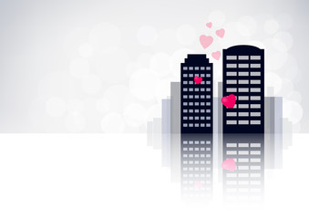 Card of love city with skyscrapers on light background.