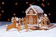 Christmas gingerbread cookie house and deers
