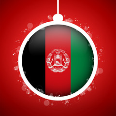 Merry Christmas Red Ball with Flag Afghanistan