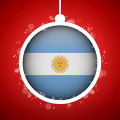 Merry Christmas Red Ball with Flag Argentina