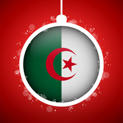 Merry Christmas Red Ball with Flag Algeria