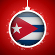 Merry Christmas Red Ball with Flag Cuba