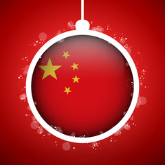 Merry Christmas Red Ball with Flag China