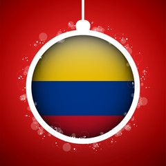 Merry Christmas Red Ball with Flag Colombia