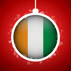 Merry Christmas Red Ball with Flag Ireland