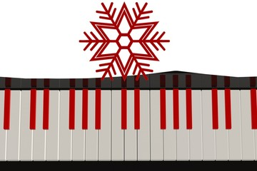 Red keys on the black and white piano with a red snowflake