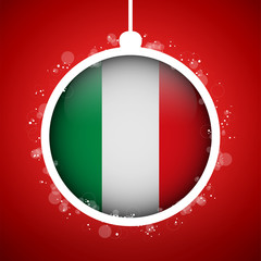 Merry Christmas Red Ball with Flag Italy