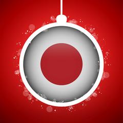Merry Christmas Red Ball with Flag Japan