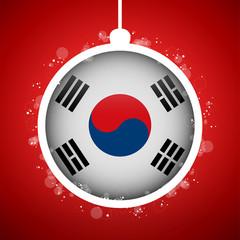 Merry Christmas Red Ball with Flag South Korea