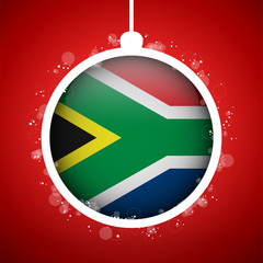 Merry Christmas Red Ball with Flag South Africa