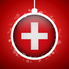 Merry Christmas Red Ball with Flag Switzerland