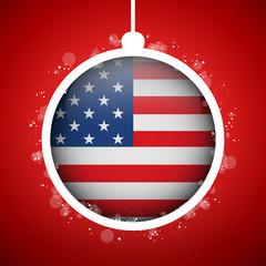 Merry Christmas Red Ball with Flag USA