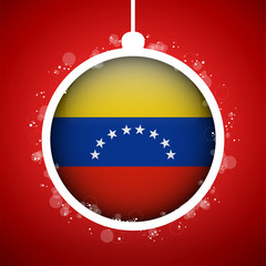 Merry Christmas Red Ball with Flag Venezuela