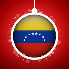 Merry Christmas Red Ball with Flag Venezuela