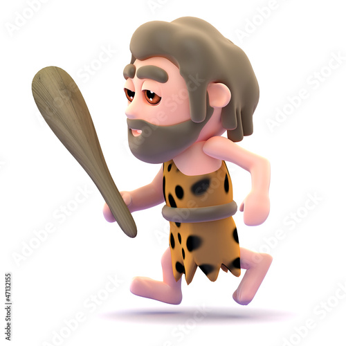 Caveman runs with club