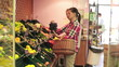 Couple looking at fresh fruits in supermarket, steadicam shot