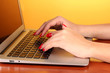 Detail of female hands using  computer on color background